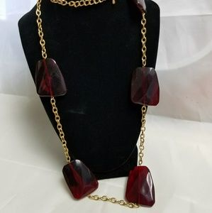 Jewelry - Red And Gold Tone Chain And Bead Necklace